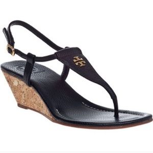 Tory Burch Britton Wedge Thong Sandal-Black